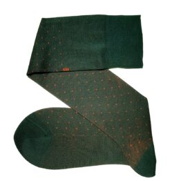 Viccel Forest Green Orange pindots cotton socks