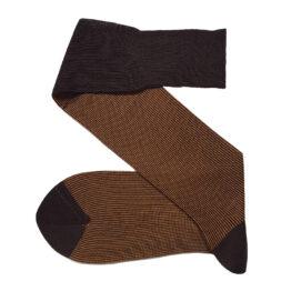 Viccel Brown Mustard striped cotton socks