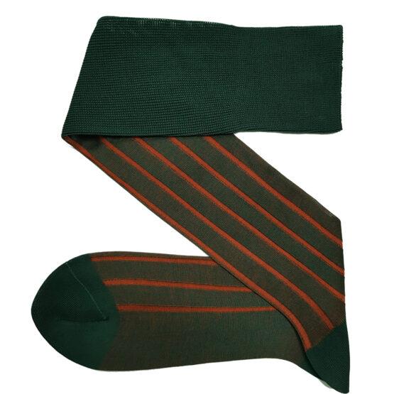 Forest Green Orange Shadow cotton socks